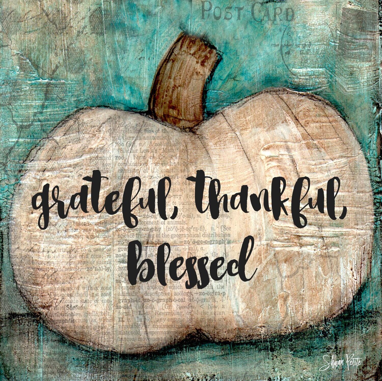 """Grateful, thankful, blessed"" pumpkin Print on Wood 6x6 Overstock"