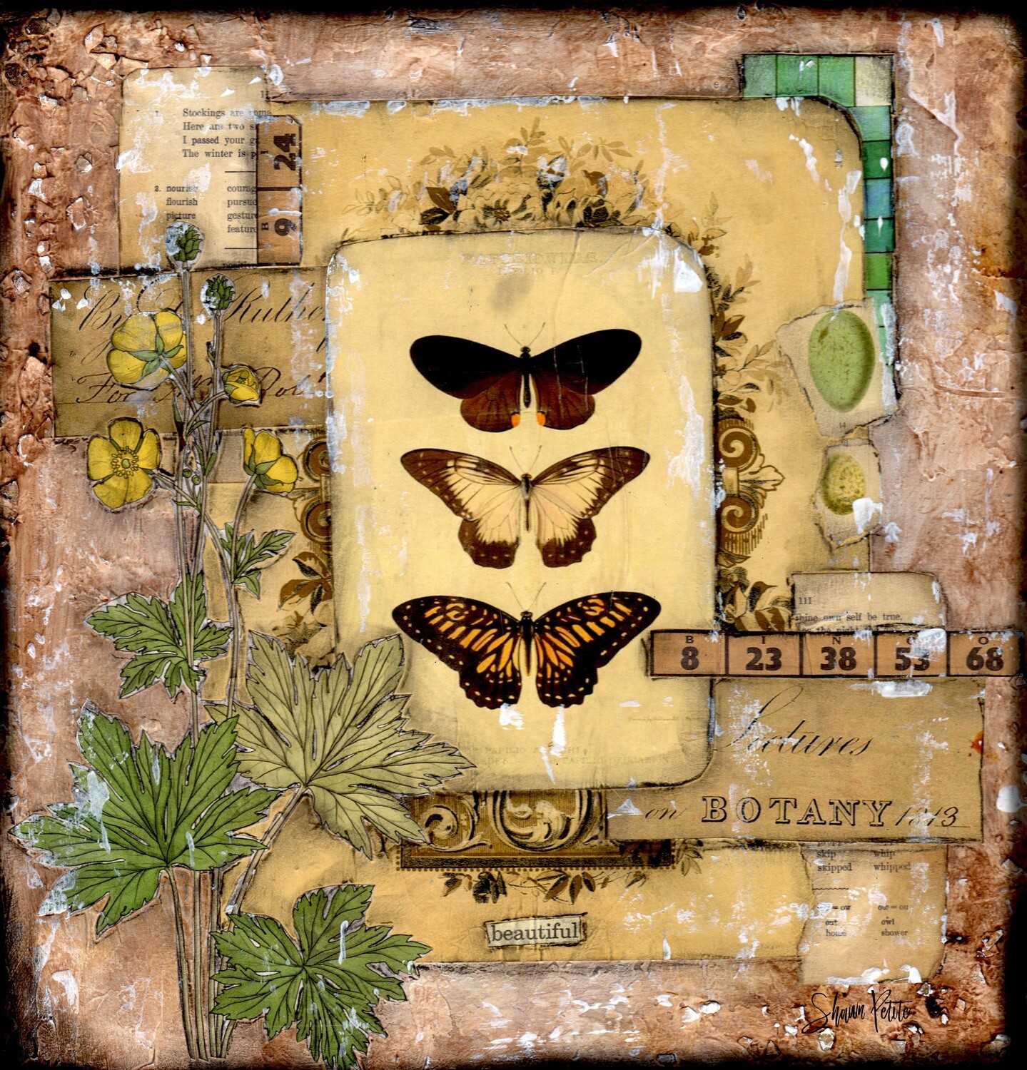 """Beautiful"" butterfly Print on Wood 8x8 Overstock"