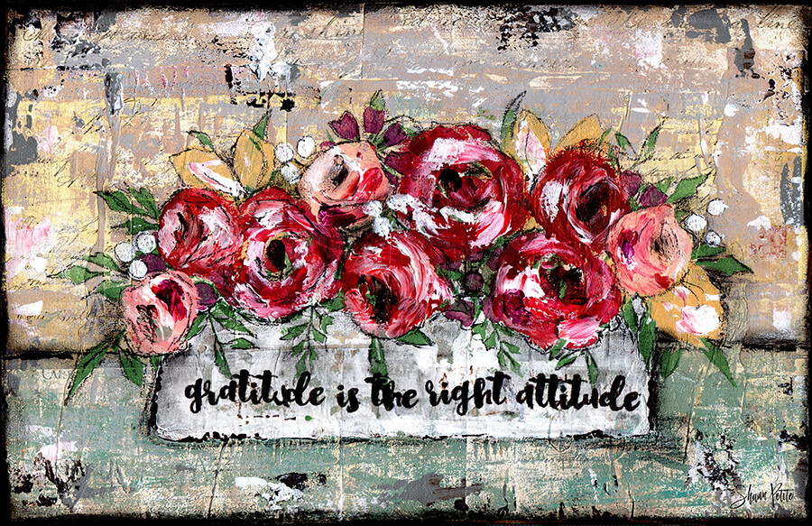 """""""Gratitude is the Right Attitude"""" Print on Wood 8x10 Overstock"""
