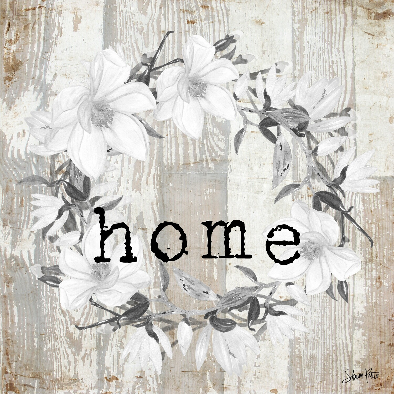 """""""Home"""" white wreath Print on Wood 8x8 Overstock"""