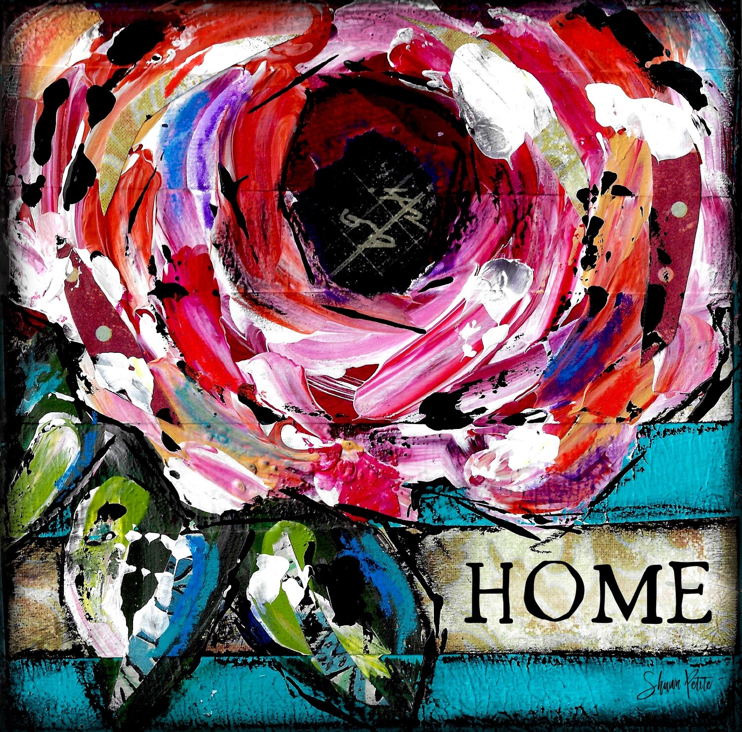 """""""Home"""" turquoise flower print on Wood 8x8 Overstock"""
