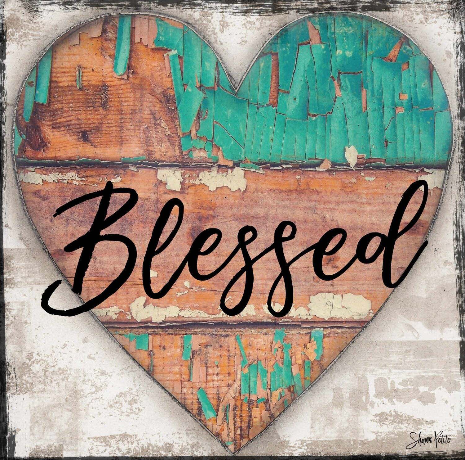 """Blessed"" chippy turquoise heart Print on Wood 8x8 Overstock"