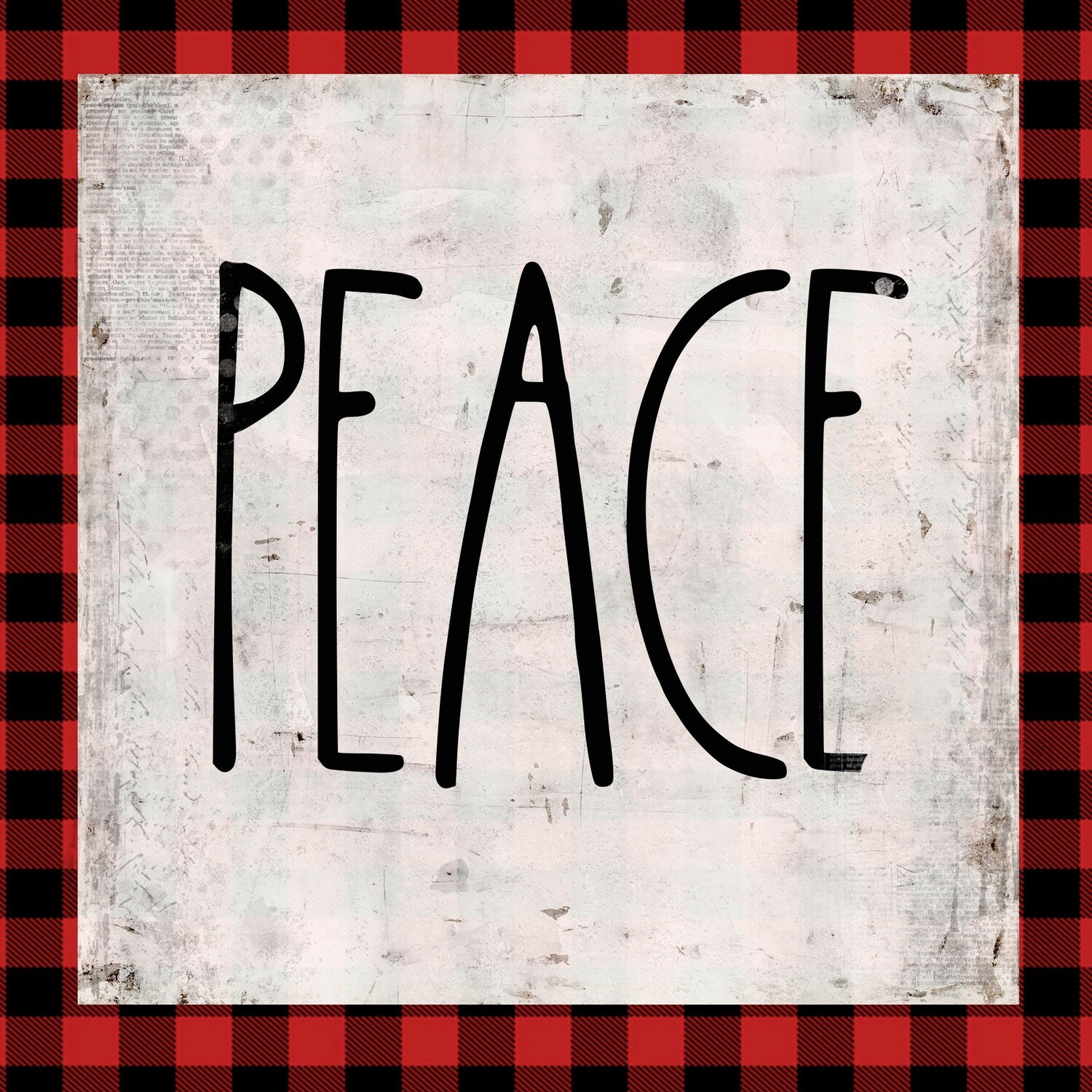 """""""Peace"""" red plaid Print on Wood 6x6 Overstock"""