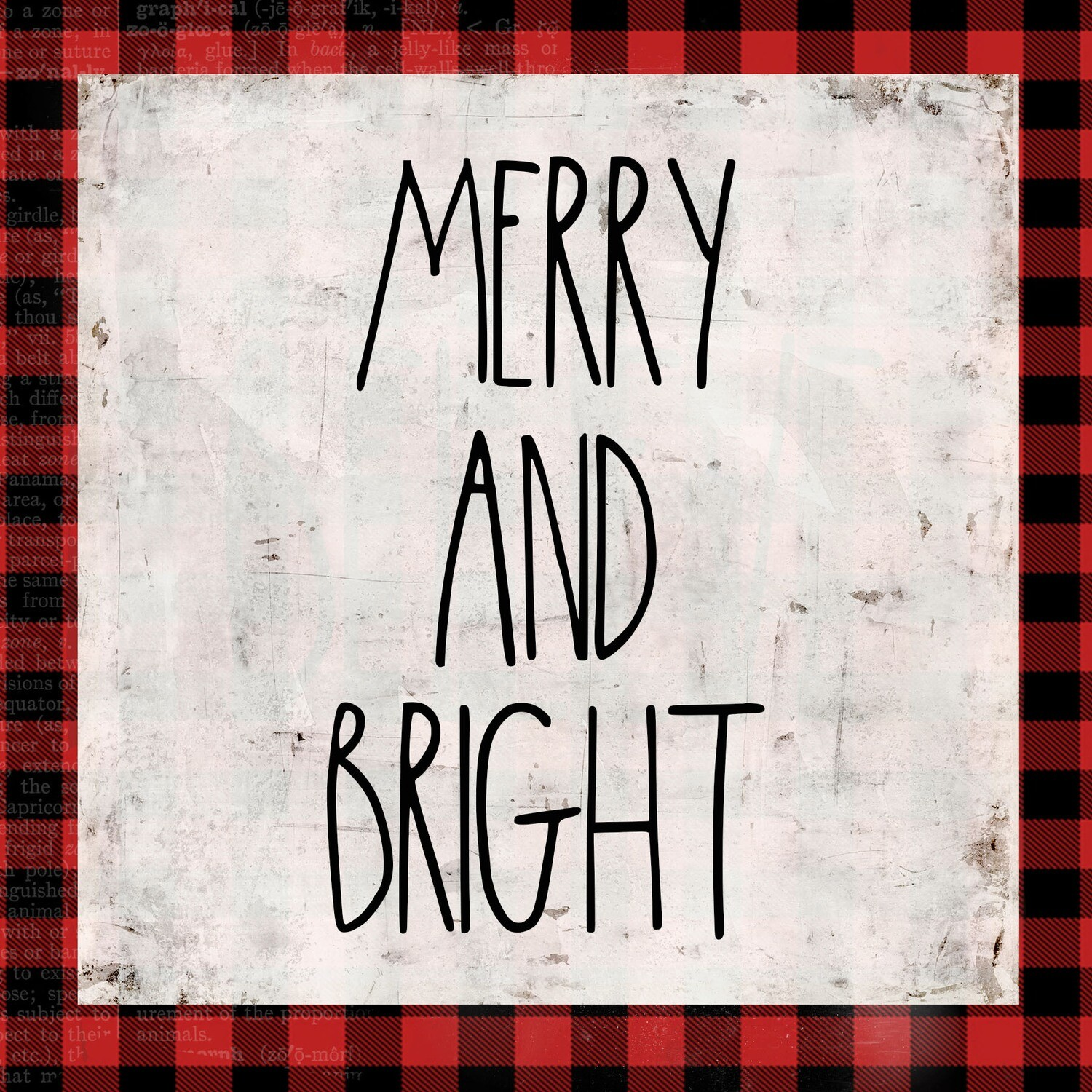 """Merry and Bright"" red plaid Print on Wood 8x8 Overstock"
