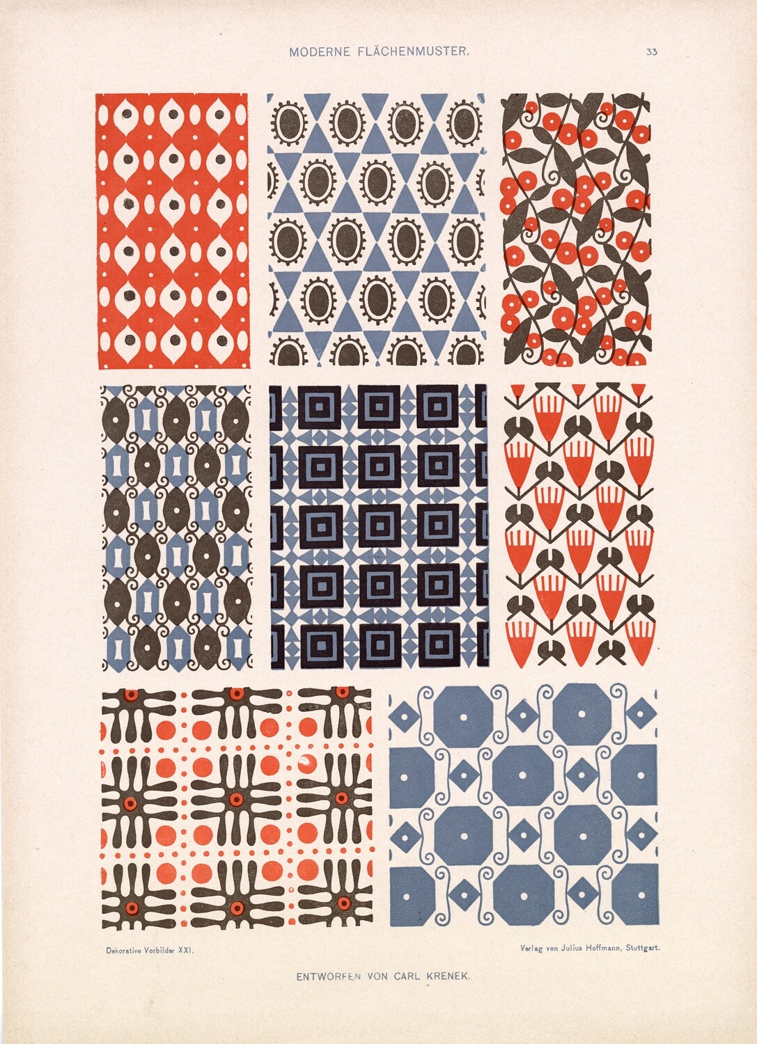 Retro Patterns collage pak instant download 6 pages