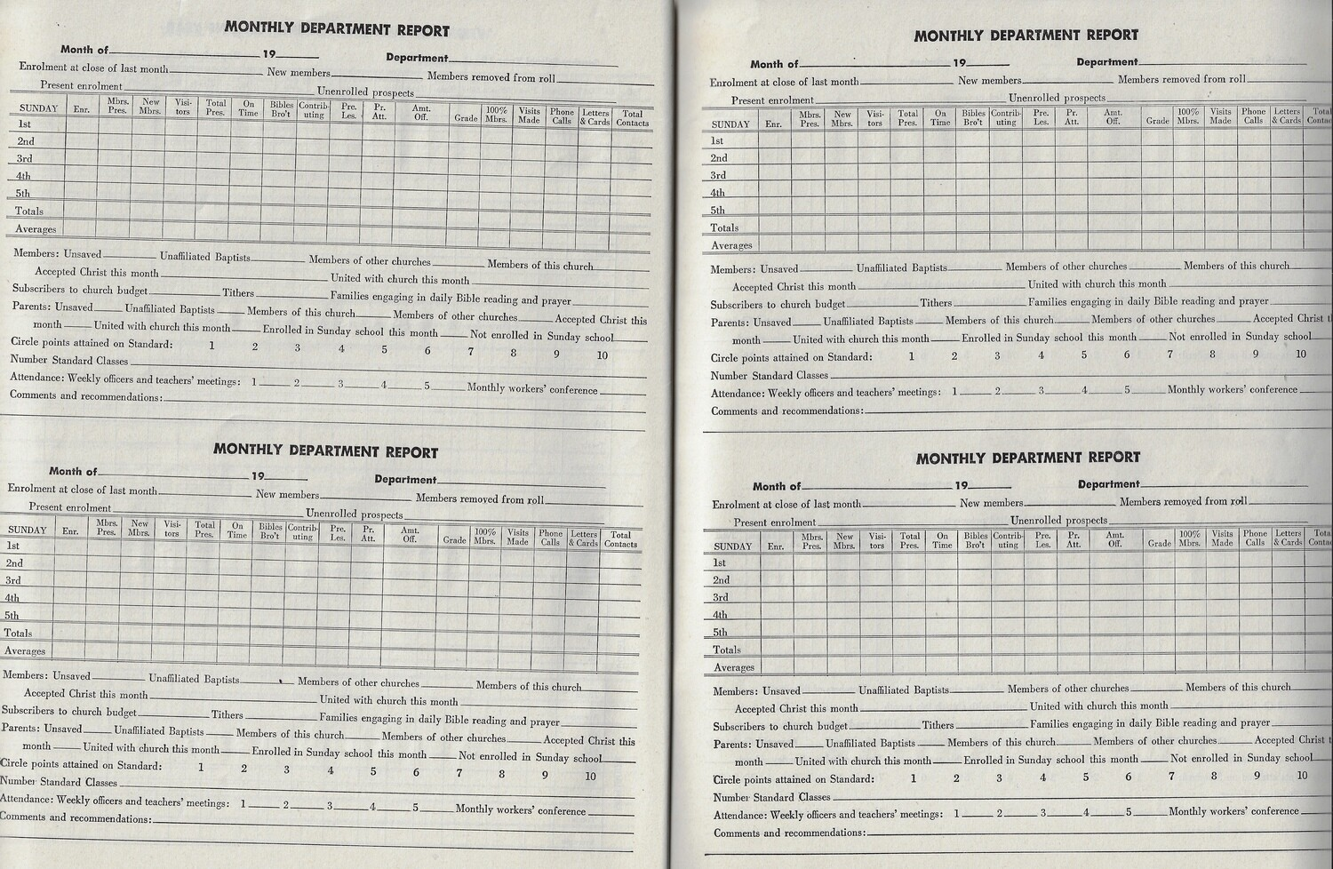 Sunday School Record Book collage pak instant download 9 pages