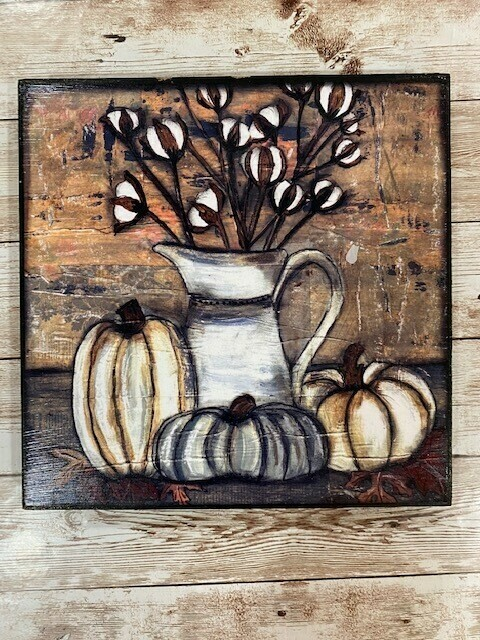 """""""Rustic Cotton Still Life"""" 12x12 print on wood Clearance"""