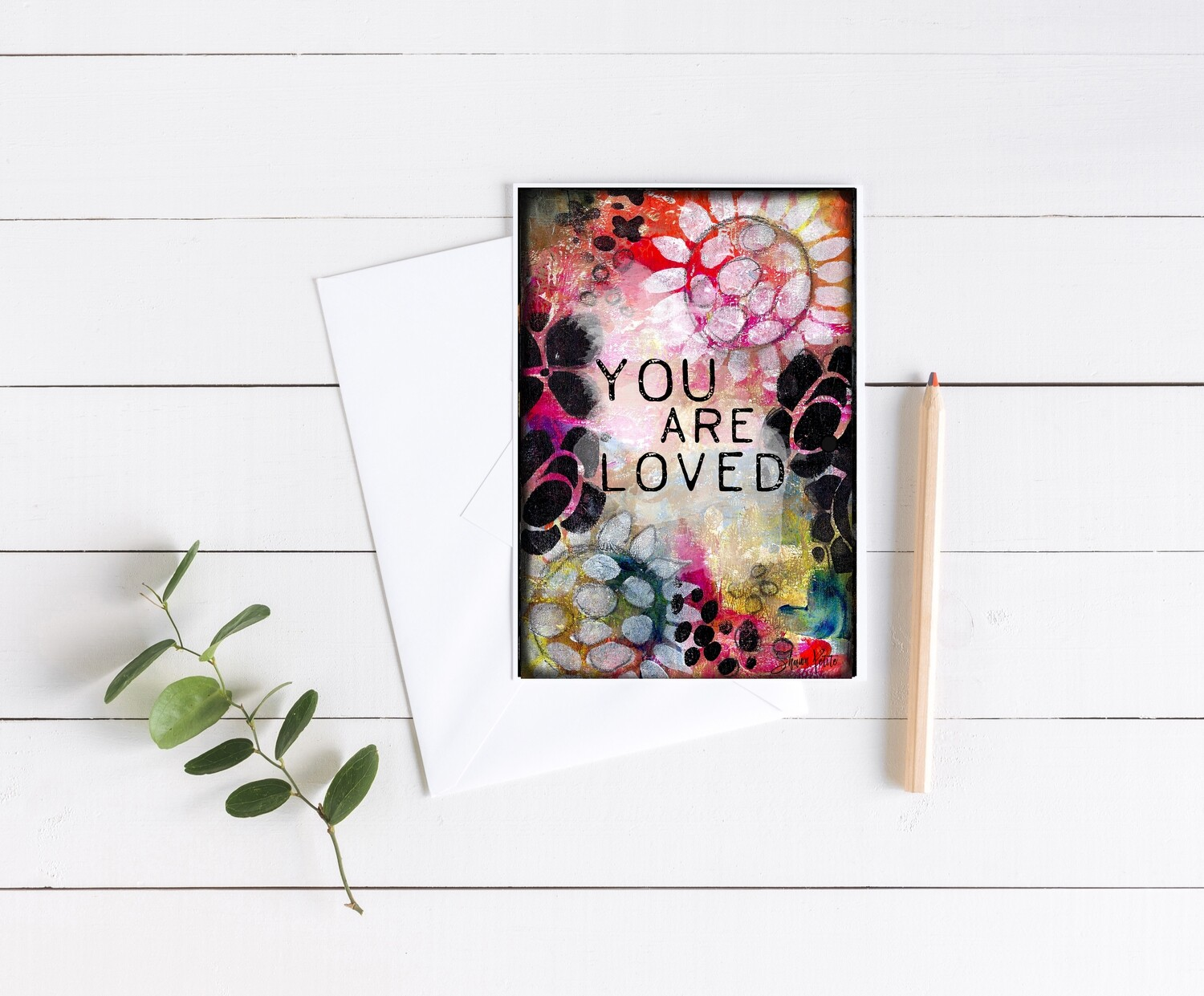 """""""You are loved"""" abstract 5x7 card"""