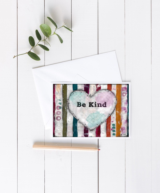 """Be Kind"" cake 7x5 4 pack card"