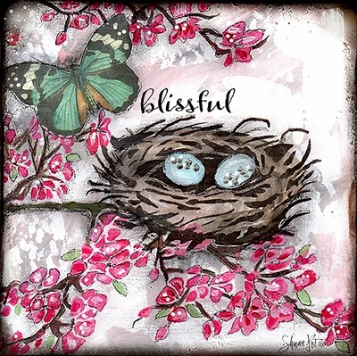 Blissful blossoms and nest, digital instant download