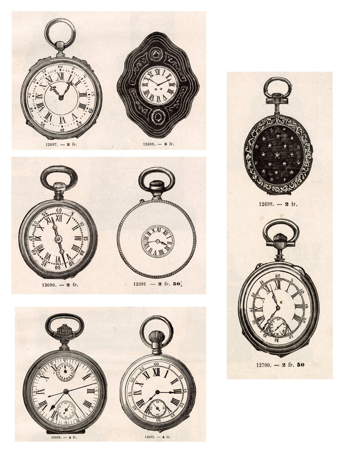 Pocket Watches collage pak instant download 7 pages