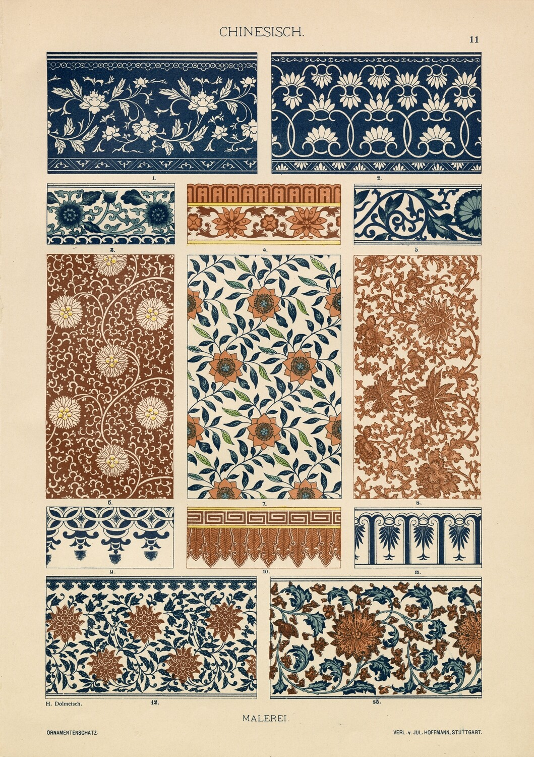 Chinese Patterns and Elements collage pac Instant Download 8 pages