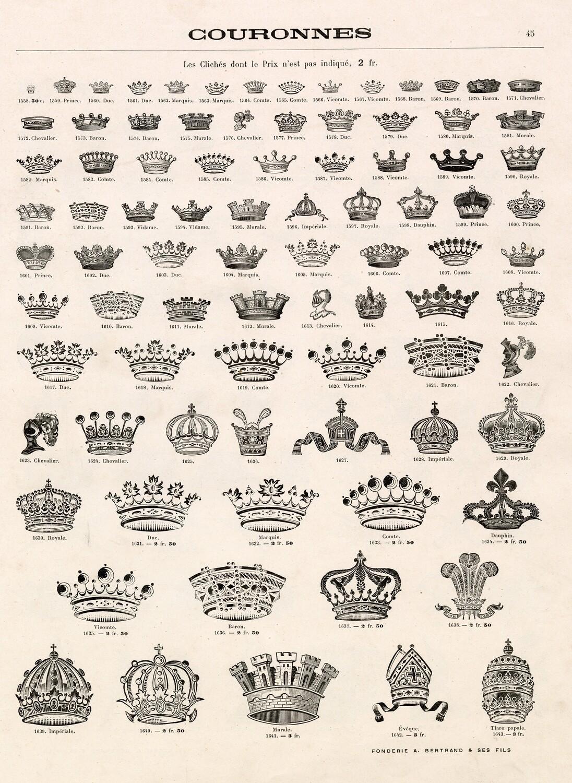 Crowns Vintage collage pak instant download 8 pages