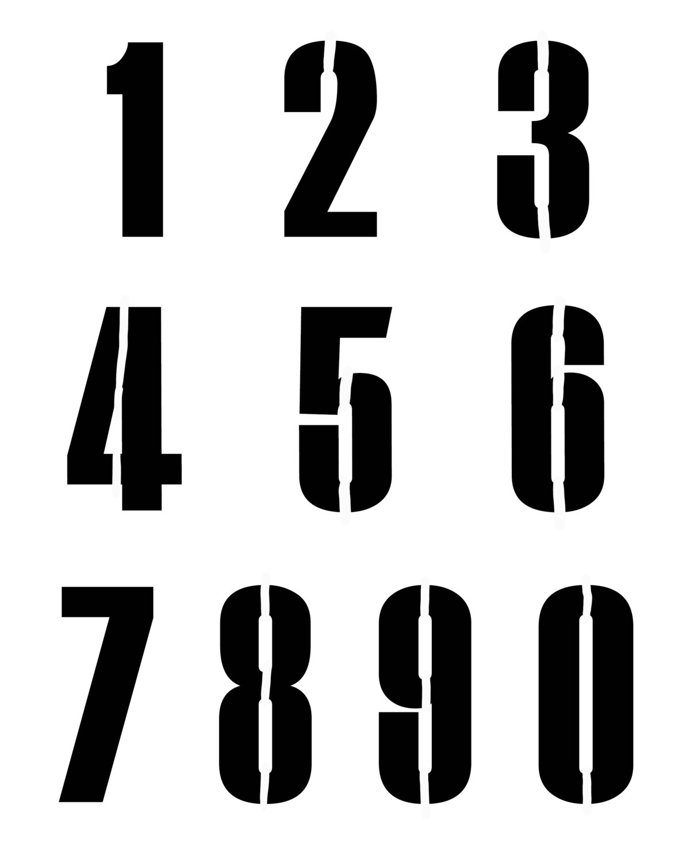Numbers Grande stencil 8x10