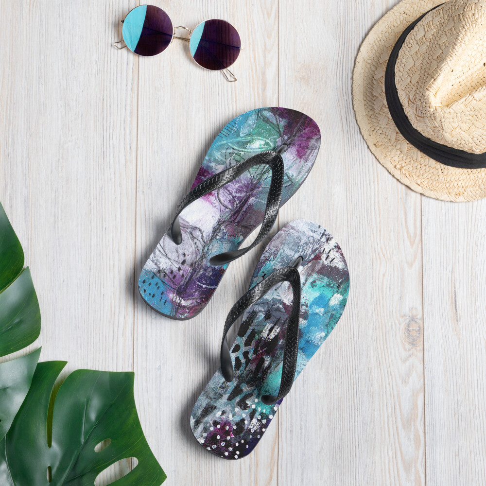 Purple/Teal Abstract Flower Flip-Flops