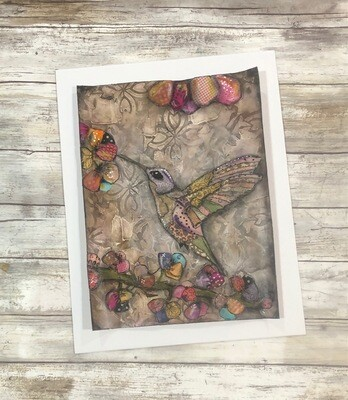"""""""Feathered Friends"""" happy hummingbird  11x14 mixed media original to be framed"""