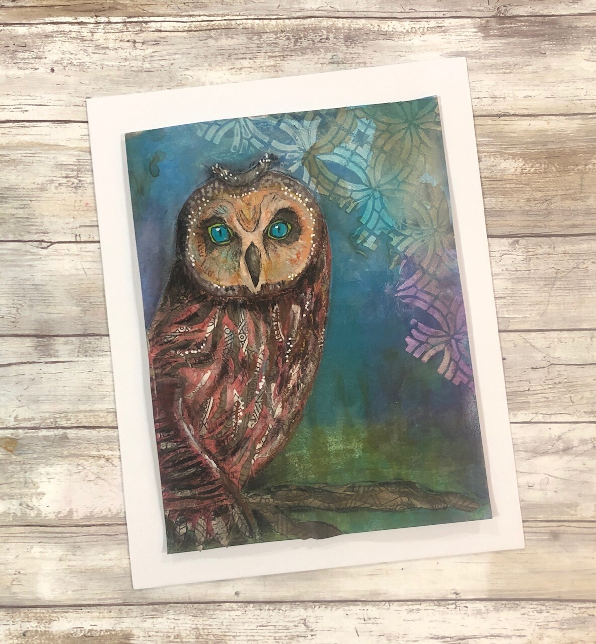 """""""Feathered Friends"""" majestic owl  11x14 mixed media original to be framed"""
