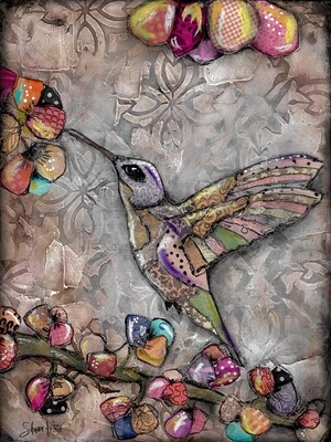 Feathered Friends, happy hummingbird Print on Wood and Print to be Framed