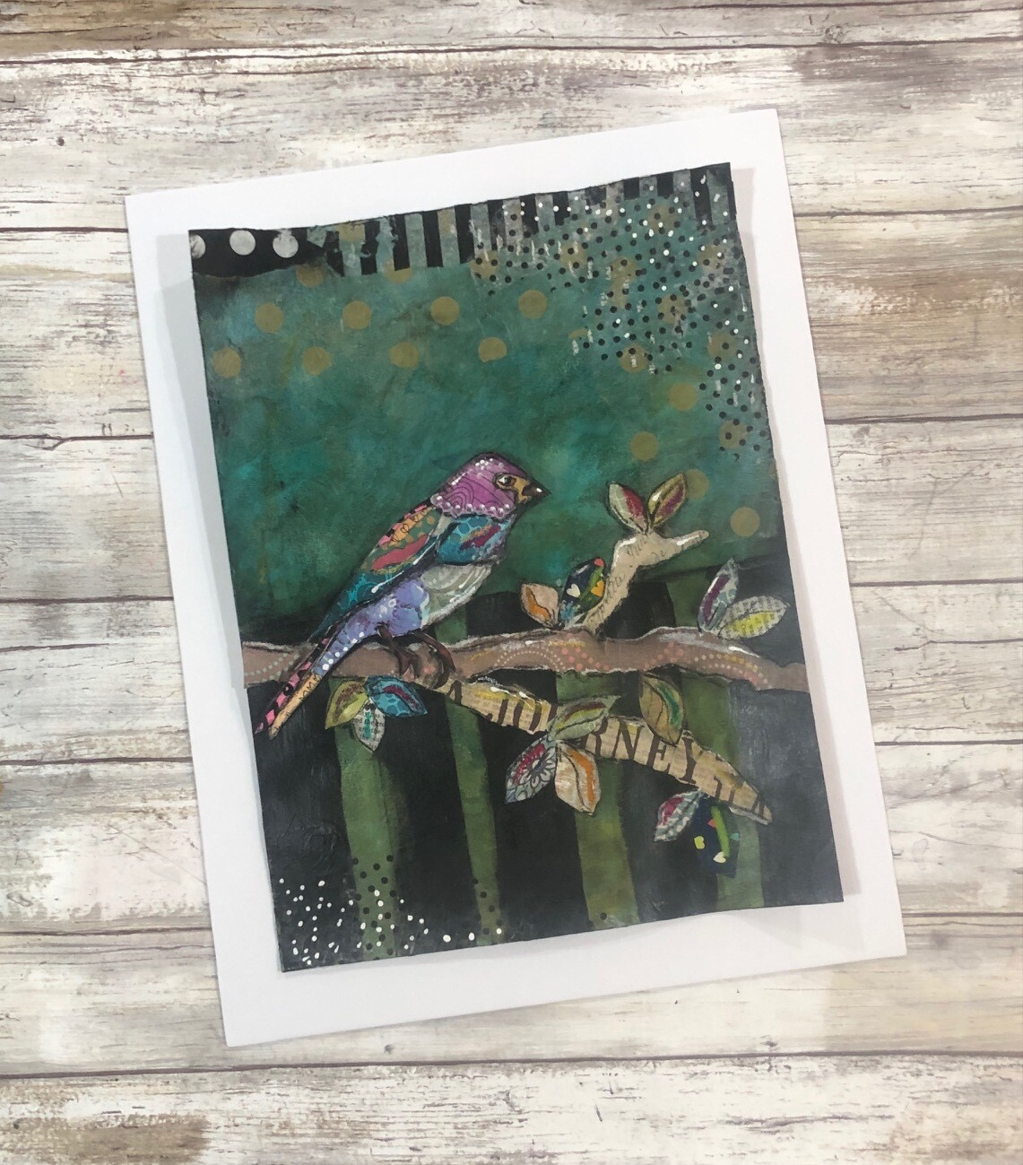 """""""Feathered Friends"""" journey bird 11x14 mixed media original to be framed"""