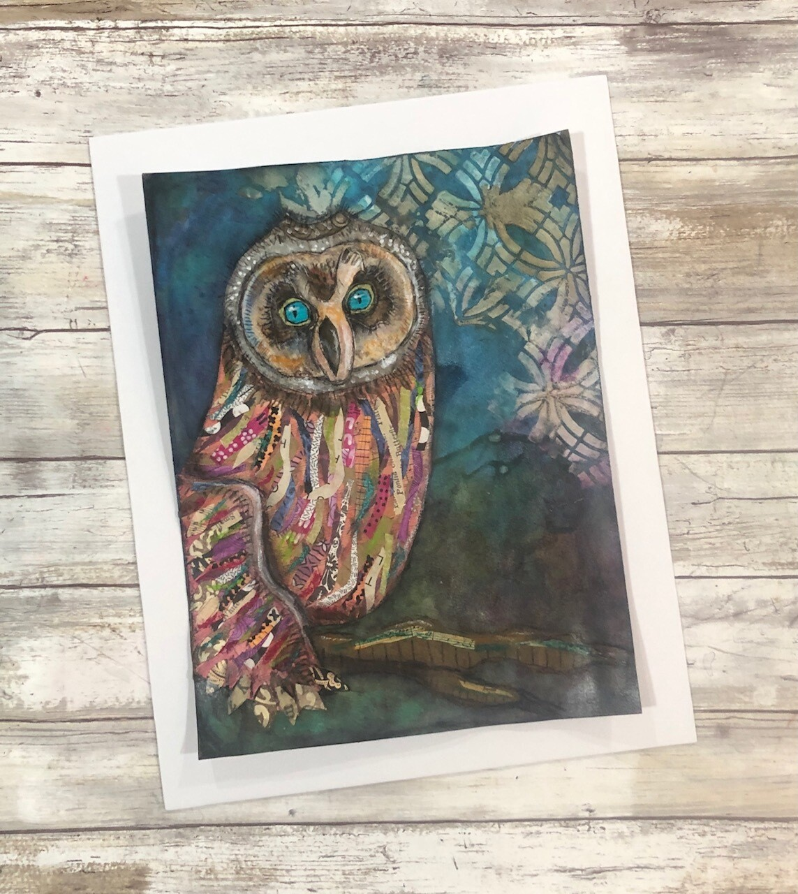 """""""Feathered Friends"""" colorful owl 11x14 mixed media original to be framed"""