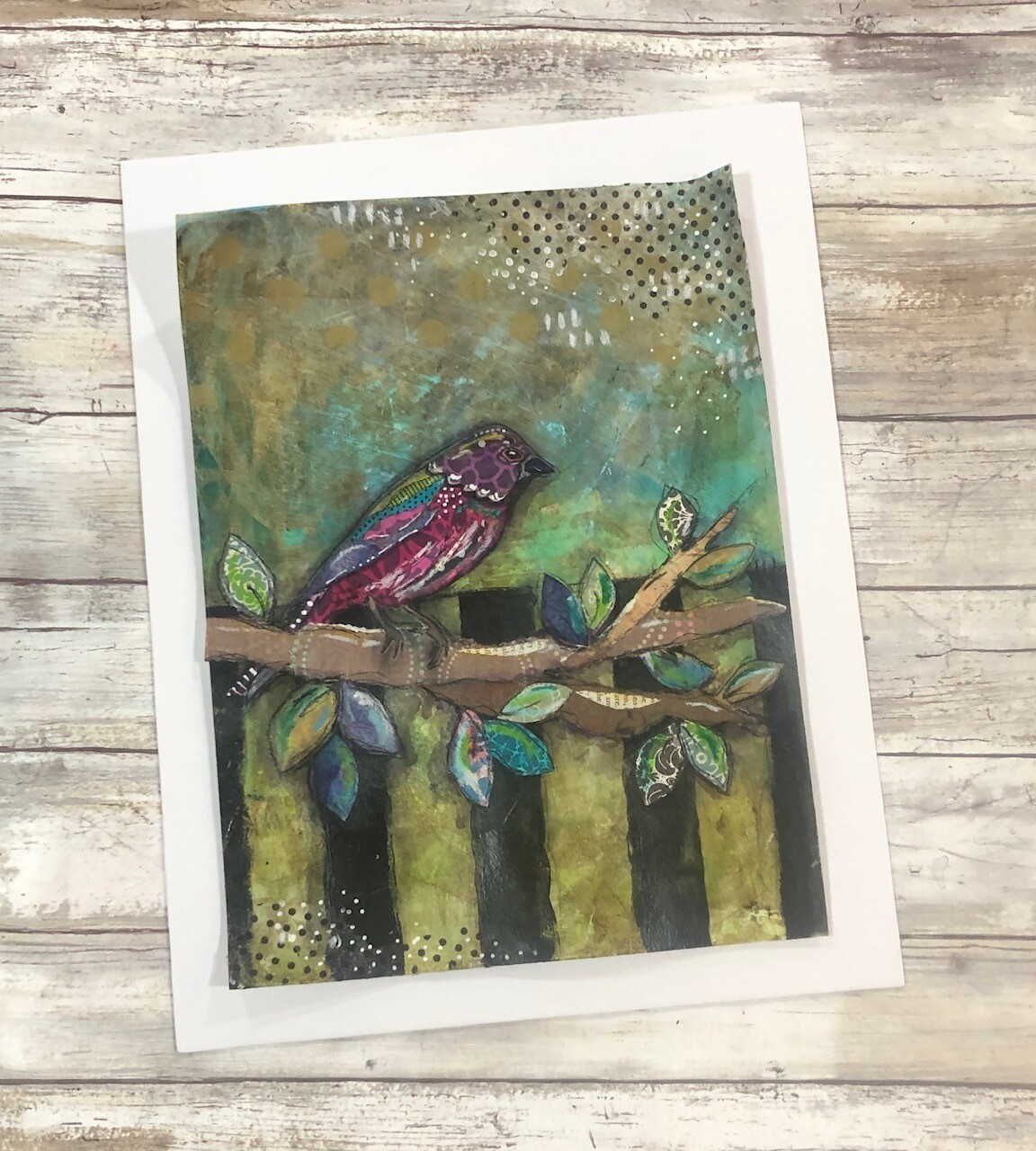 """""""Feathered Friends"""" bold bird 11x14 mixed media original to be framed"""