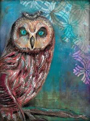 """""""Feathered Friends majestic owl"""" bird Print on Wood and Print to be Framed"""