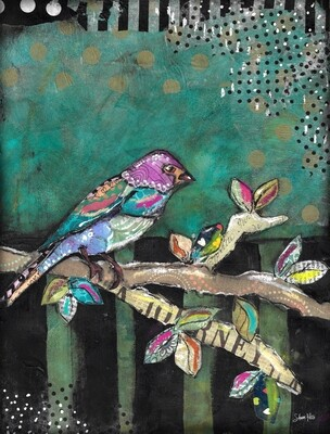 """""""Feathered Friends Journey Bird"""" Print on Wood and Print to be Framed"""