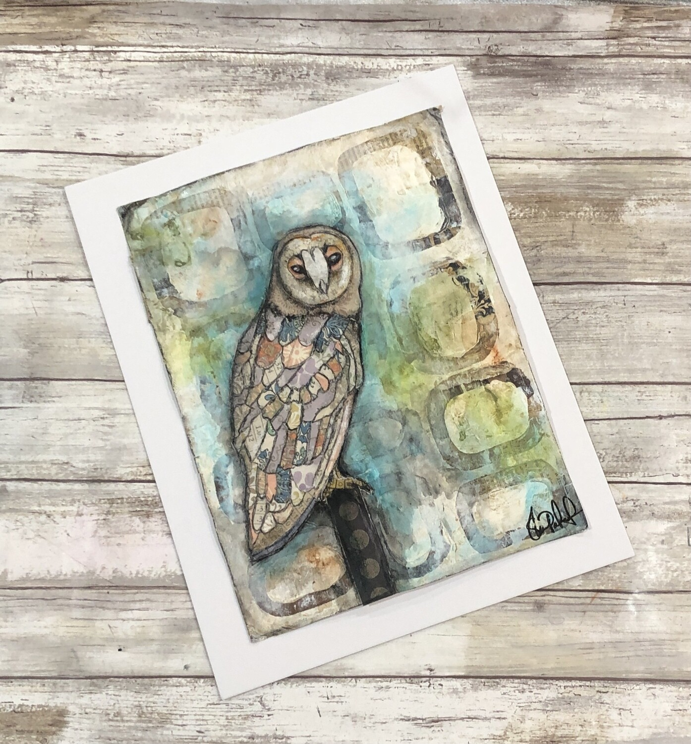 Peaceful Owl 11x14 mixed media original to be framed