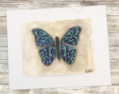 Groovy Buterfly 20x16 mixed media original to be framed