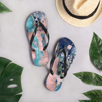 Blue and Pink Abstract Flip-Flops