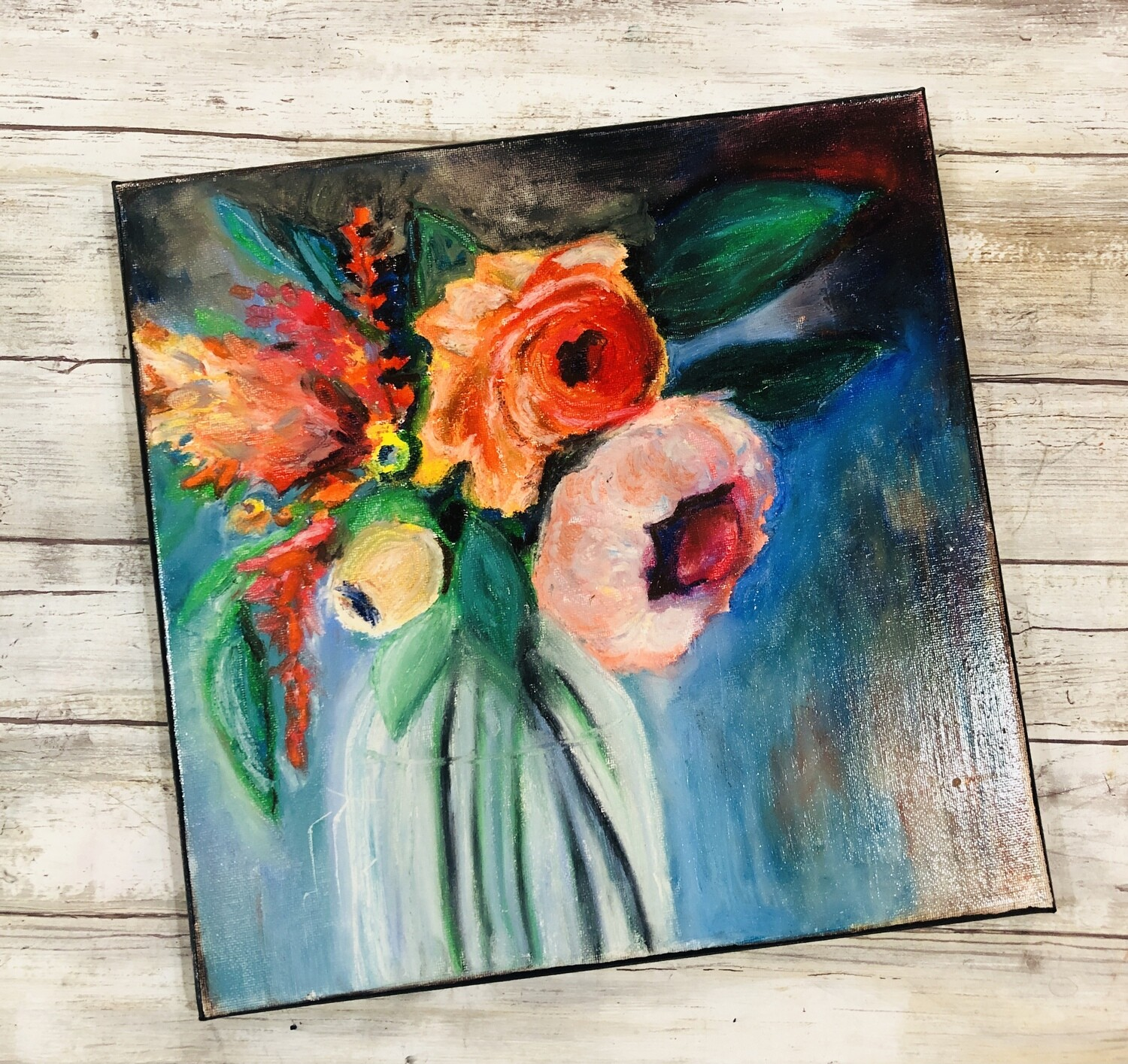 """""""Be alive"""" mixed media abstract flower 12x12 original canvas"""