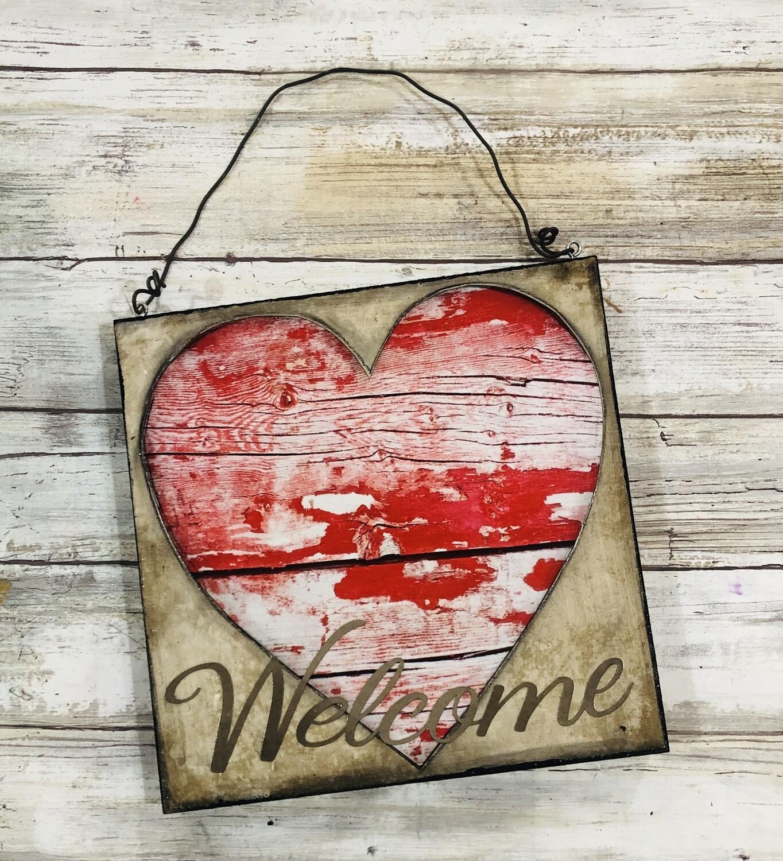 """Welcome Heart"" hanger 8x8 mixed media original"