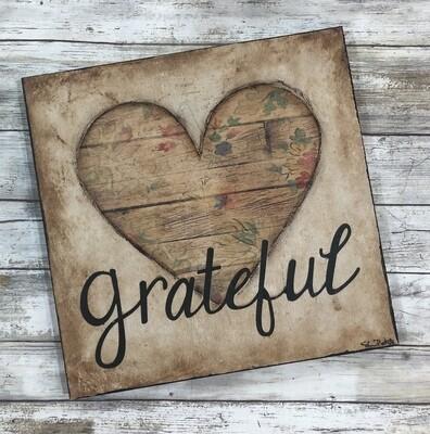 """""""Grateful"""" heart mixed media original 12x12"""