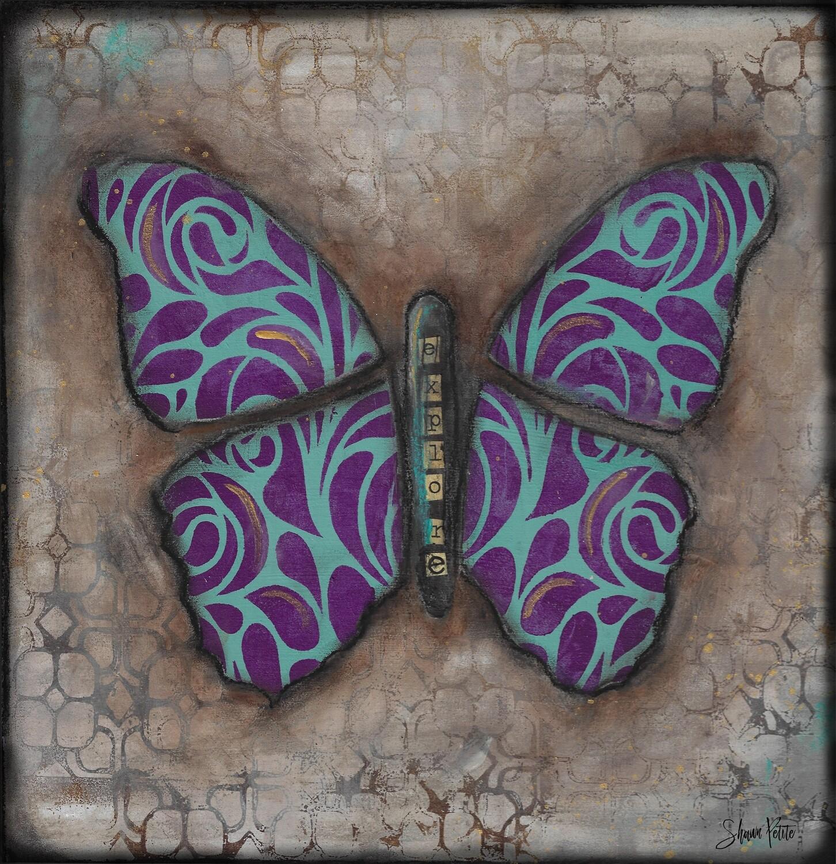 """Explore"" butterfly mixed media original 12x12"