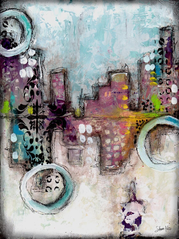 """""""Hidden City"""" 8x10 mixed media original"""