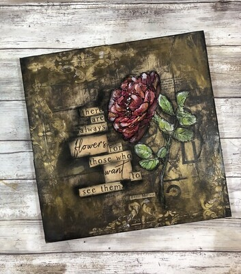 """Gilded Rose"" mixed media original 12x12"