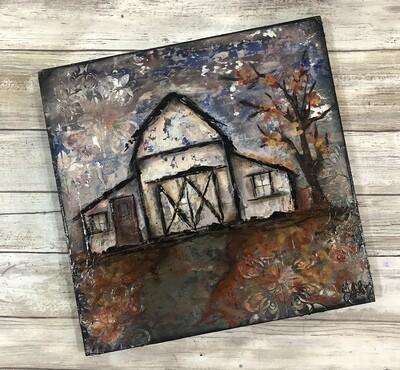 """""""Fall Barn"""" mixed media original 12x12"""