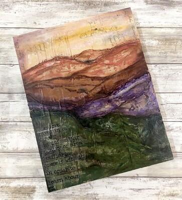 """""""Explore landscape 2"""" mixed media original 11x14"""