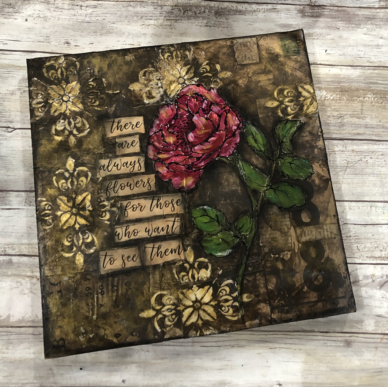 """Gilded Rose 2"" mixed media original 12x12"