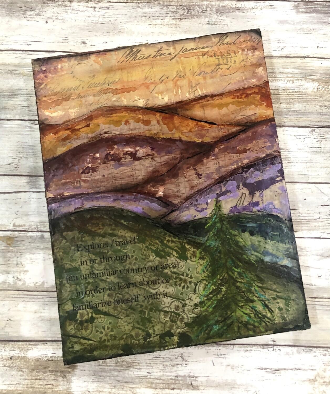 """""""Explore landscape 1"""" mixed media original 11x14"""