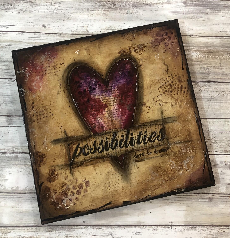 """""""Possibilities""""  heart 12x12 mixed media original"""