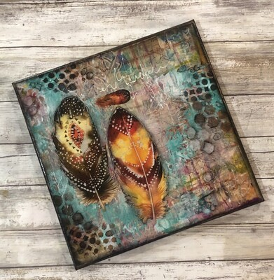 """Follow your Deams"" feathers 12x12 mixed media canvas original"