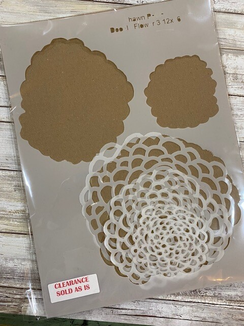 Doodle Flower 3 stencil clearance 12x16