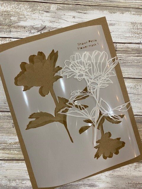 Flower mask 1 8x10 stencil CLEARANCE