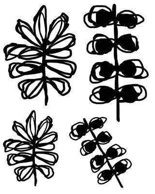 Inky Leaves 2 with masks stencil 8x10