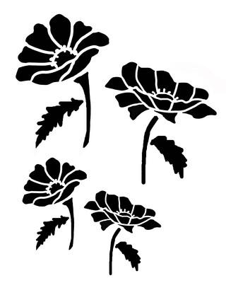 Poppies stencil 8x10