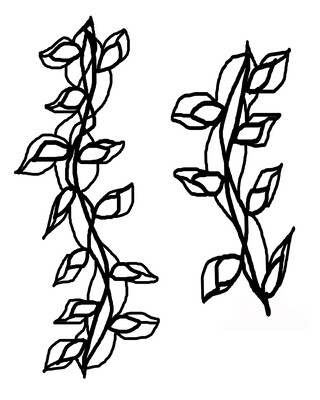 Scribbly vines with masks stencil 8x10