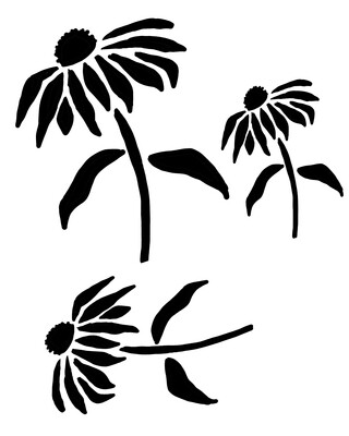 Cone Flowers stencil 8x10