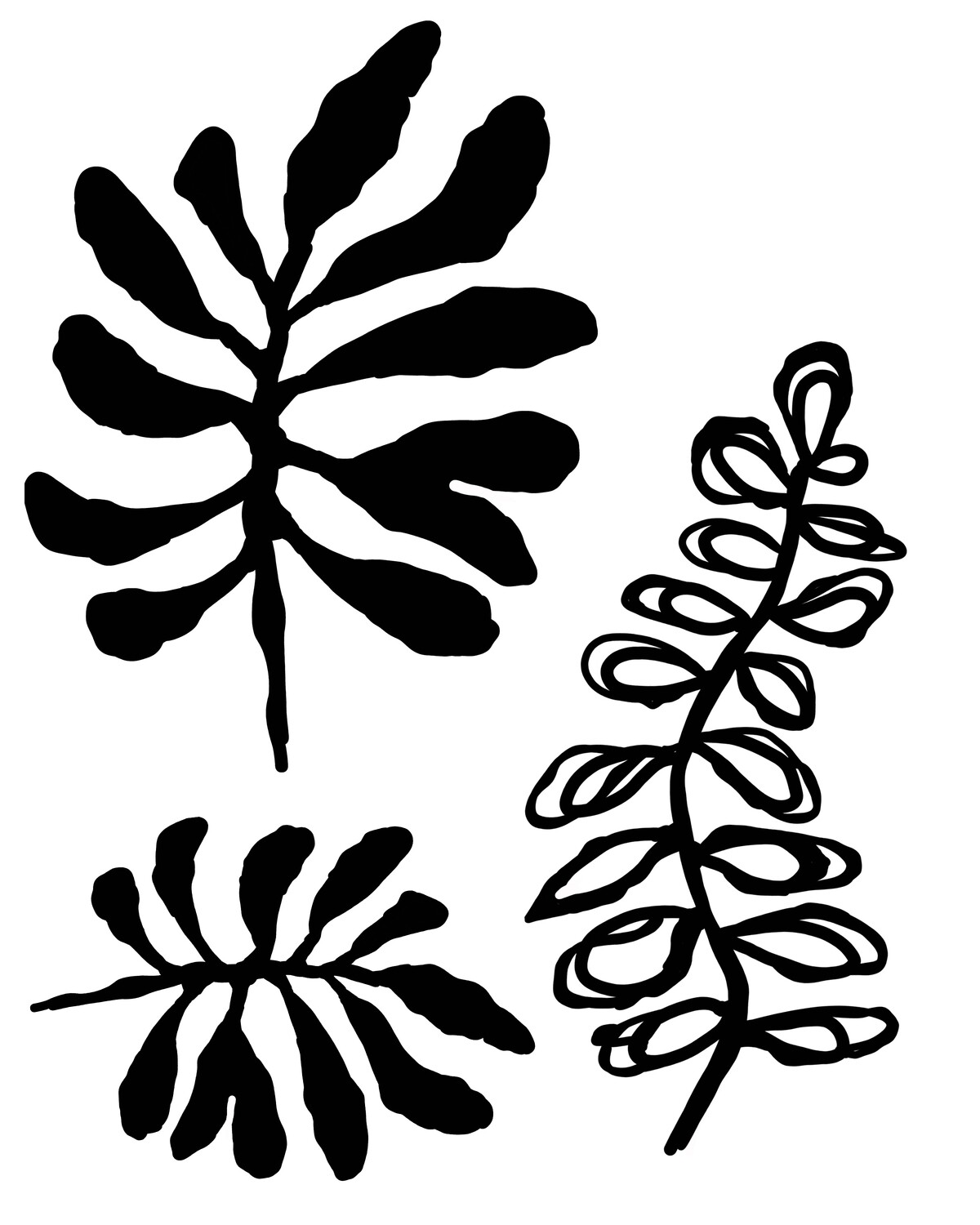 Inky Leaves 1 with masks stencil 8x10