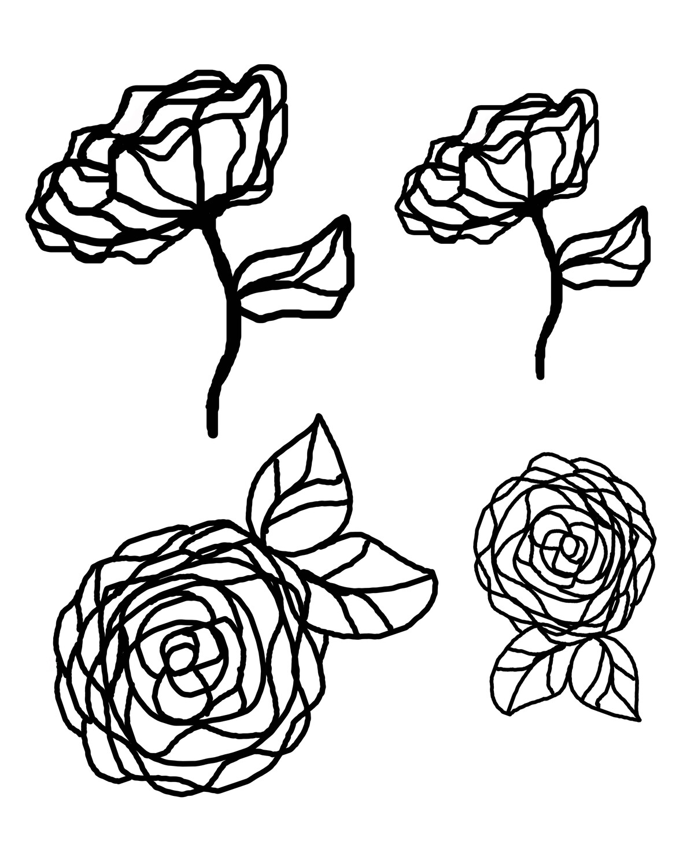 Graphic flowers stencil masks 8x10